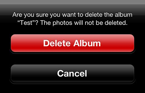 "Tap the ""Delete Album"" button"