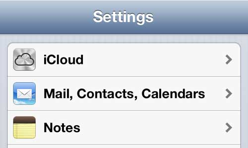 "Select the ""Mail, Contacts, Calendars"" option"