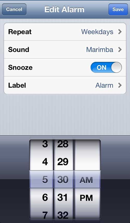 Change the alarm settings