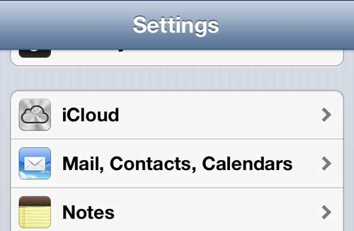 "Open the ""Mail, Contacts, Calendars"" menu on your iPhone"