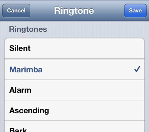 Choose the ringtone for the contact