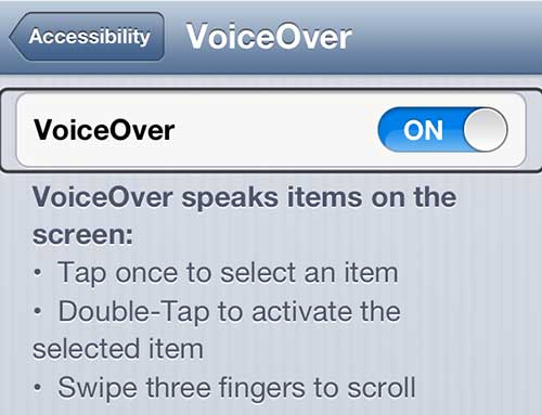Turn off the VoiceOver setting