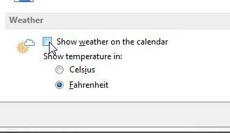 Disable the weather option