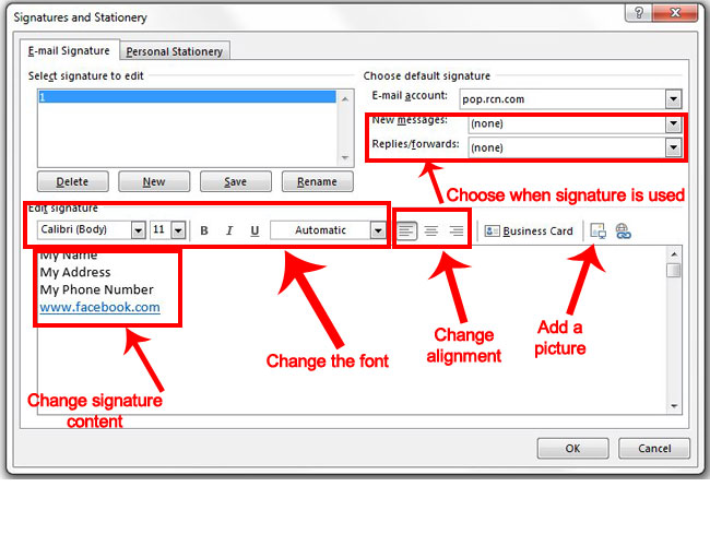 how to change a signature in outlook 2013