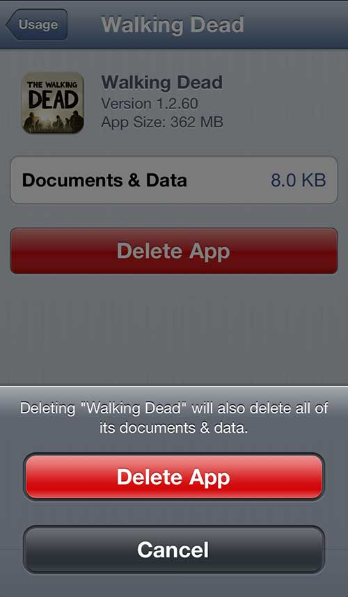 delete an app fro the iphone 5 usage screen