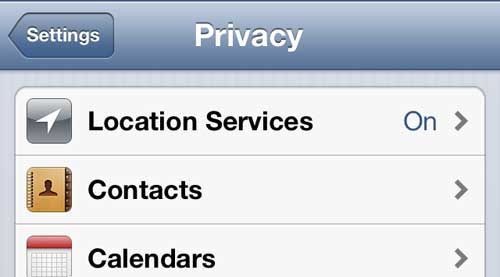 Touch the Location Services button