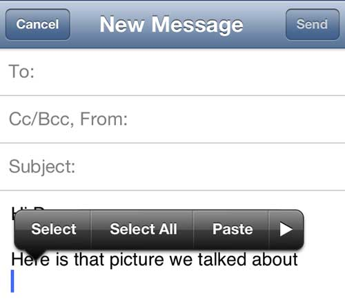 Tap the right arrow if there is already text in the message body