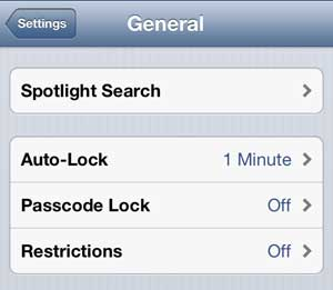 Select the Passcode Lock option