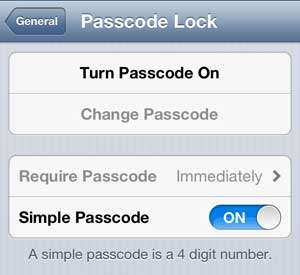Touch the Turn Passcode On option