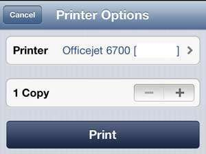 Tap the Printer button is one is not available