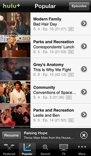 Hulu Plus iPhone 5 app