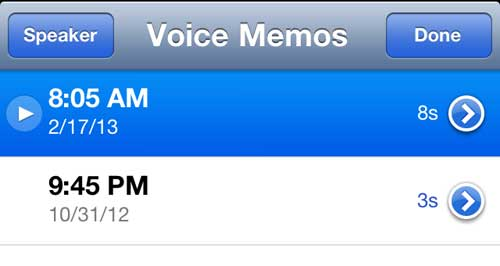 Select the voice memos you want to send