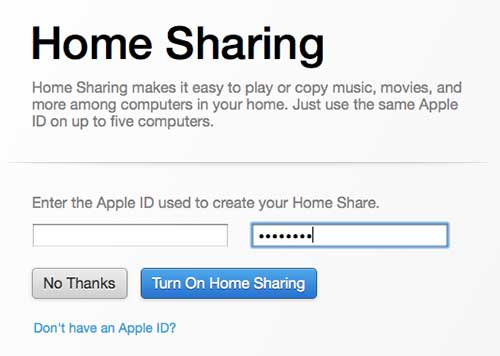 Enter your Apple ID credentials to complete the Home Sharing setup