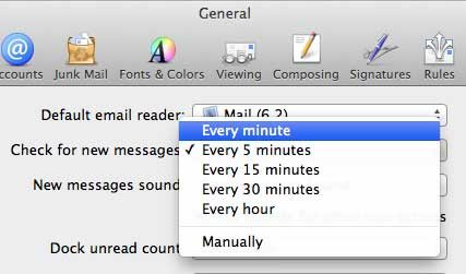 Choose the mail check frequency