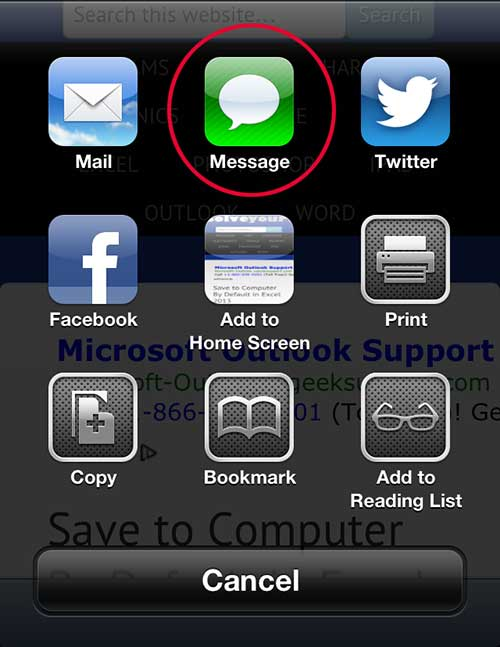 Tap the Message option
