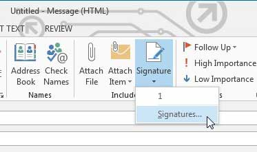 Click the Signature drop-down menu, then click Signatures