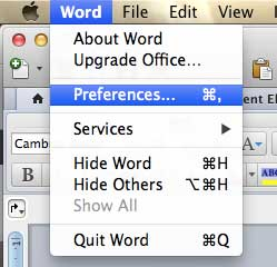 Open the Word Preferences menu
