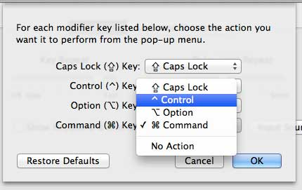 Set the action for the Command key