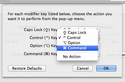 Set the action for the Control Key