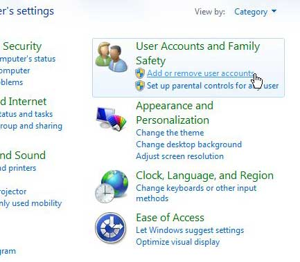 Click the User Accounts and Family Safety link