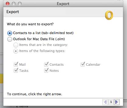 Export your contacts as a list