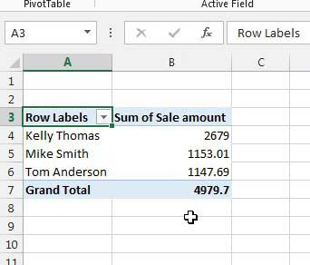 Sample PivotTable