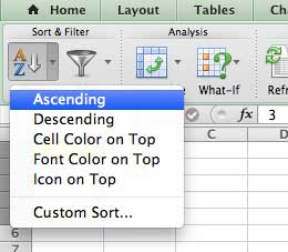 how to sort in excel for mac 2011