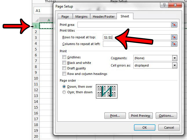 ho wto repeat rows at top of excel page - step 3