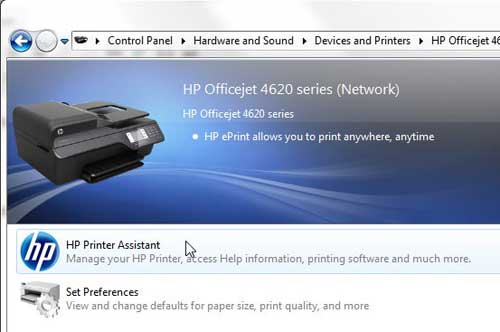 Double click the HP Printer Assistant icon
