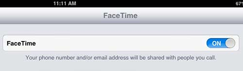Turn on the FaceTime option