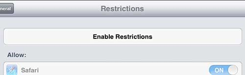 tap the enable restrictions button