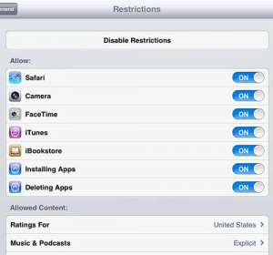 how to enable restrictions on the ipad