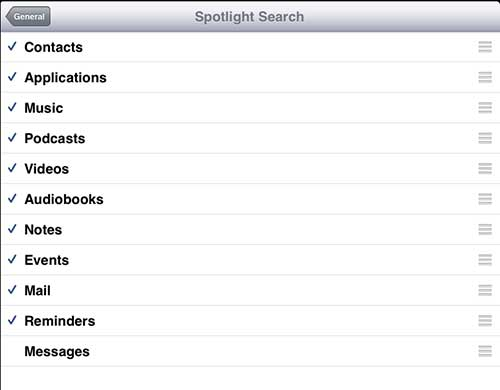 Remove Messages from Spotlight Search