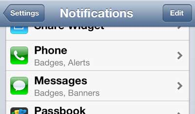 configure the messages notifications