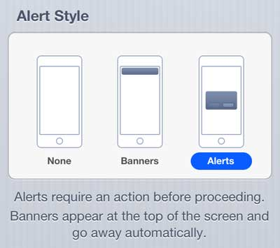 turn on alerts for text messages