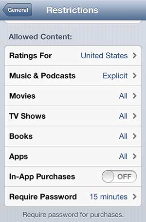 disable in-app purchases on the iphone 5