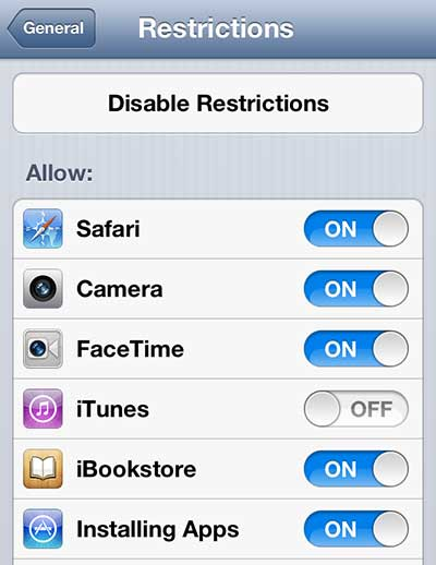 disable itunes store access