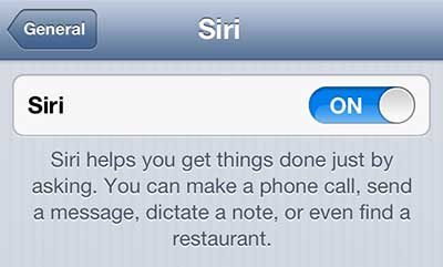 move the siri slider to the off position