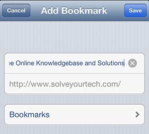 Type a name for the bookmark, then tap the Bookmarks option