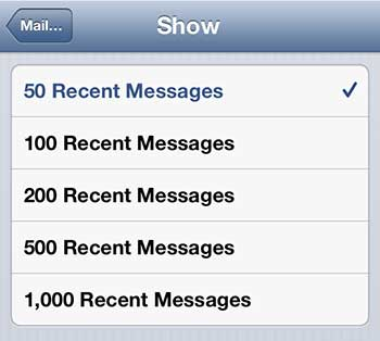 show more mail messages on the iphone 5