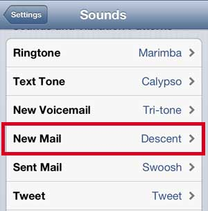 Select the New Mail option