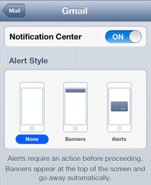 Set the Alert Style to None