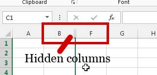 Example of hidden columns