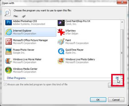 click the arrow to the right of other programs