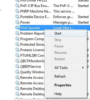 Right-click the Print Spooler option, then click Start
