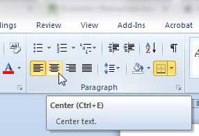 center the table in word 2010