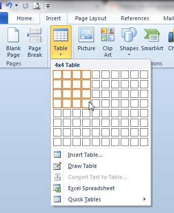 how to insert a table in word 2010