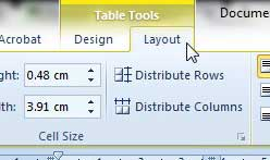 the table tools tabs