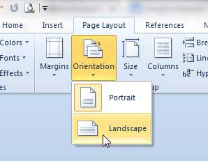 switch to landscape orientation in word 2010