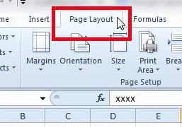 excel 2010 page layout tab